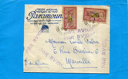 """Marcophilie-lettre AVION- Maroc""""Paramount Film"""" >Françe-casd 20 1 1930-2 Stamps Merson Surchargé N°36 -Arrivée 22 - Lettres & Documents"""
