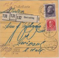Bayern - 2 M.+15 Pfg. Ludwig Paketkarte/3 Pakete Obertraubling - Zwiesel 1918 - Bavaria