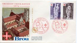 Premier Jour N° 1910 Et 1911 Croix Rouge 20/11/1976 Bourg En Bresse Et St Denis De La Réunion édition Farcigny - 1970-1979
