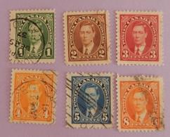 """CANADA YT 190/195 OBLITERES """" GEORGE VI"""" ANNÉE 1937 - Usados"""
