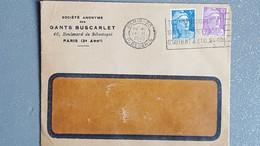 1949 France Lettre A Entête Gants Buscarlet Paris 3 Arrt / Flamme Sur Gandon 5f Et 10f Lettre A Fenêtre - Lettres & Documents