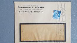 1948 France Lettre A Entête Ets Menard Paris 2 Artt Ema Latéral  Gandon 5f Tarif Facture / Lettre A Fenêtre - Lettres & Documents