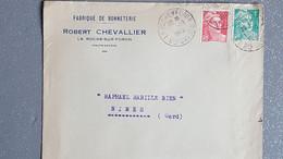 1948 France Lettre A Entête Fabrique De Bonneterie Robert Chevallier A La Roche Sur Foron Haute Savoie Gandon 6f + 4f - Lettres & Documents