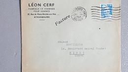 1949 France Lettre A Entête Fabrique De Chemise Pour Hommes Strasbourg Facture  Flamme Muette 7 Lignes - Lettres & Documents
