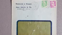 1949 France Lettre A Entête Manufacture De Vêtement Jean Maza Et Fils Au Cheylard Ardèche Gandon 5f + 10f - Lettres & Documents