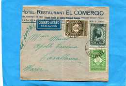 Marcophilie-lettre AVION-Espagne>Maroc -cad 1931 3 StampsN°481 Montserrat  Cote 110 Euros+475-6 - Briefe U. Dokumente