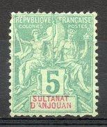 Ex-colonies & Protectorats (ANJOUAN) - 1892-99 - N° 4 - 5 C. Vert - Neufs