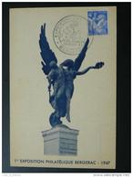 Carte Postcard Exposition Philatélique De Bergerac 1947 Dordogne - Lettres & Documents