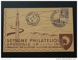 Carte Foire Exposition 1946 Semaine Philatélique Grenoble - Lettres & Documents