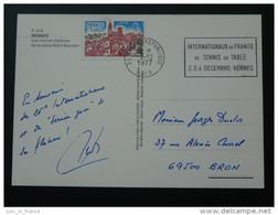 Carte Postcard Internationaux Tennis De Table 1977 Rennes - Table Tennis