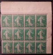 France 1907 Semeuse N°137 Bloc De 12, CdF Avec Divers Variétés Sur Le 5 C ** TB - Unused Stamps
