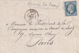 749/33 - Lettre TP Empire Dentelé 20 C METZ 1867 Vers Le Président De La Cie Du Canal De SUEZ à PARIS - 1862 Napoleon III