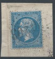 Lot N°59491  Variété/n°22/fragment, Oblit GC 1203 Coutras, Gironde (32) + Oblit à Déchiffrer, Tache Blanche Embriquement - 1862 Napoleon III