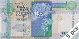 TWN - SEYCHELLES 36b - 10 Rupees 2008 DEALERS LOT X 5 - Prefix AG - Signature: Francis Chang Leng UNC - Seychelles