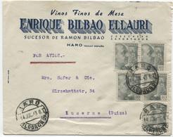1943. Carta Aérea Censurada De Haro A Suiza - 1931-50 Cartas