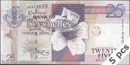 TWN - SEYCHELLES 37b - 25 Rupees 2008 DEALERS LOT X 5 - Prefix AE - Signature: Francis Chang Leng UNC - Seychelles