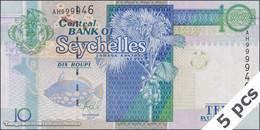 TWN - SEYCHELLES 42 - 10 Rupees 2013 DEALERS LOT X 5 - Prefix AH - Signature: Caroline Abel UNC - Seychelles