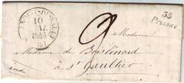 Cursive 35 PRISSAC Indre SUPERBE LETTRE Avec Texte 1845 , St Benoist Du Sault - 1801-1848: Précurseurs XIX