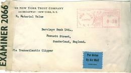 USA 1941 Censored Transatlantic Clipper Front With NY 30c Meter Cancellation - Briefe U. Dokumente