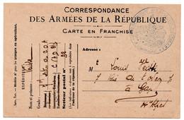 FRANCHISE MILITAIRE - CPFM - CORRESPONDANCE MILITAIRE -  CARTE FM - C.V.A.D. - 1916. - Cartes De Franchise Militaire