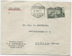 1952. Carta Aérea De Bilbao A Zurich - 1951-60 Cartas