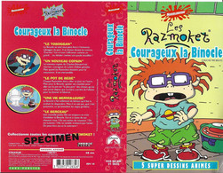"""""""COURAGEUX LA BINOCLE"""" -jaquette SPECIMEN Originale PARAMOUNT VIDEO -les Razmoket -chuckie The Brave - Cartoons"""