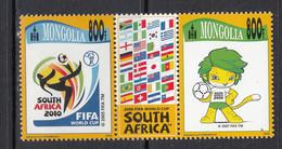 2010 Mongolia World Cup Football South Africa Flags  Gutter Pair  MNH - Mongolia