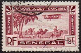 Sénégal Obl. N° PA 11 - Avion Survolant L'Afrique 15f Brun-carminé - Posta Aerea
