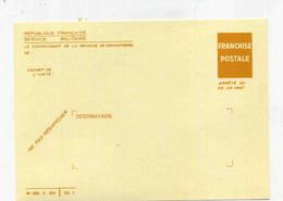 Carte FM Gendarmerie- Franchise Postale ( Arrété De 1967 ) Neuve, Notification De Présentation Pour Réserve - Cartes De Franchise Militaire