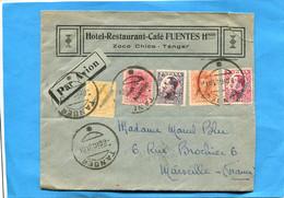 Marcophilie-lettre -maroc Espagnol->Françe Cad Tanger 1931-5 Stamps Correos Espanol Marruecos  -belle Cote - Marruecos Español