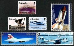 Gibraltar 2003 Wright Flyer I, Concorde, SARO Windhover, Ryan NYP, Space Shuttle (Yvert 1037, Mi 1036, Gibbons 1045) - Aerei