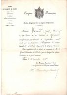 Ministère De L'Algérie Et Des Colonies Informant D'une Nomination Dans L'ordre Impérial De La Légion D'Honneur  1860 - Historische Documenten