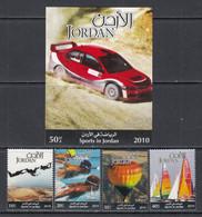 2010 Jordan Sports Rally Driving Ballooning  Skydiving Sailing Complete Set Of 4 +  Souvenir Sheet MNH - Jordania