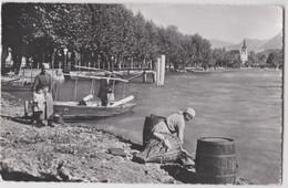 CPSM  Caslano  (Suisse )  Lago Di Lugano    Barques Et Lavandières  Motivo    Lavandaia   Ed MAIR 3274 RARE - TI Ticino