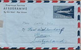 AUSTRALIA 1964 AEROGRAMME With Text Inside, Sent To Bern AEROGRAMME USED - Briefe U. Dokumente