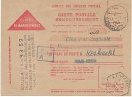 1948 / Carte Remboursement Redevance Radio Strasbourg / Rare Crbt En Franchise / Cachet Hexagonal Keskatel 67 - Lettres & Documents