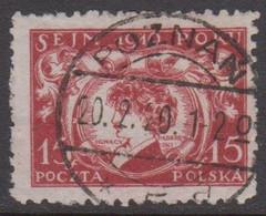 1920. POLSKA. Paderewski 15 F LUXUS Cancel POZNAN  20.12.20. (Michel 124) - JF415569 - Used Stamps