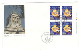 Canada Stamps Unaddressed FDC Manitoba  Upper Right Plate Block Of 4 1995 - 1991-2000