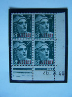 ALGERIE 1945 BLOC NEUF DE 4 X MARIANNE DE GANDON, SURCHARGE, COIN DATE - Nuovi