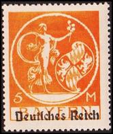 1920. DEUTSCHES REICH Overprint On BAYERN 5 M. Hinged. (Michel 136 I) - JF415483 - Neufs