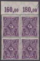 1922-1923. DEUTSCHES REICH Posthorn 2 Mark. 4-block Never Hinged. (Michel 224) - JF415511 - Neufs