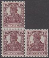 1920-1921. DEUTSCHES REICH 15 Pf. Germania. 3-block. Never Hinged. (Michel 142) - JF415520 - Neufs