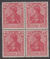 1920-1921. DEUTSCHES REICH 40 Pf. Germania. 4-block. Never Hinged. (Michel 145) - JF415522 - Neufs