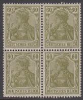 1920-1921. DEUTSCHES REICH 60 Pf. Germania. 4-block. Never Hinged. (Michel 147) - JF415523 - Neufs