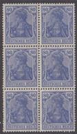 1920-1921. DEUTSCHES REICH 80 Pf. Germania. 6-block. Never Hinged. (Michel 149) - JF415524 - Neufs