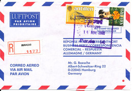 Netherlands Antilles Registered Air Mail Cover Sent To Germany Curacao 14-11-2000 - Curacao, Netherlands Antilles, Aruba