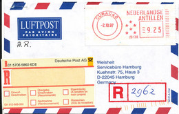 Netherlands Antilles Registered Air Mail Cover Sent To Germany Curacao Meter Cancel 2-10-1997 - Curacao, Netherlands Antilles, Aruba