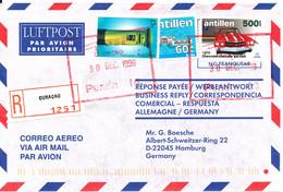 Netherlands Antilles Registered Air Mail Cover Sent To Germany Curacao 30-12-1999 - Curacao, Netherlands Antilles, Aruba