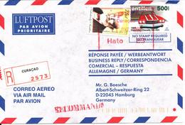 Netherlands Antilles Registered Air Mail Cover Sent To Germany Curacao 11-10-1999 - Curacao, Netherlands Antilles, Aruba