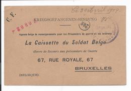 Kriegsgefangenen-Postkarte Aus Giessen Nach Brüssel - Occupation 1914-18